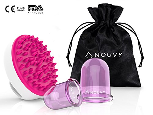 Anti Cellulite Silicone Suction Cups & Brush for Cupping Body Massage Therapy: 2pc. Vacuum Cup Set + Cellulite Remover Shower Brush by NOUVY