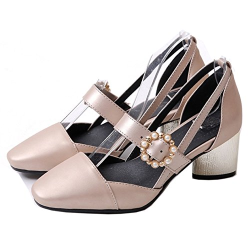 Women Pumps Pink Block Shoes FizaiZifai Closed Toe Heels R1qxv4vdXw