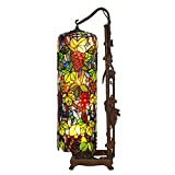 Bieye L10399 Grapes Tiffany Style Stained Glass Long Cylinder Table Lamp, Floor Lamp, 33-inch Tall Review