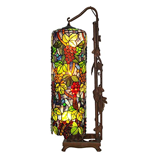 Bieye L10399 Grapes Tiffany Style Stained Glass Long Cylinder Table Lamp, Floor Lamp, 33-inch Tall