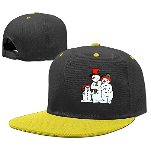 Sport Merry Christmas Snowman Child Flat Brim Cap Boys Girls Baseball Hat Adjustable One Size Yellow