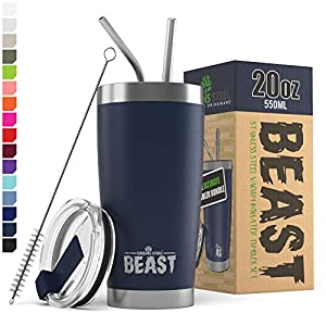 BEAST 20oz Navy Blue Tumbler - Stainless Steel Vacuum Insulated Coffee Ice Cup Double Wall Travel Flask 4