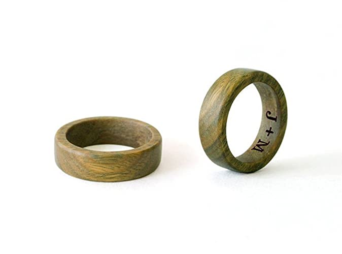 sandalwood ring wood wedding rings wood rings set wooden wedding bands personalized - Wedding Rings Amazon