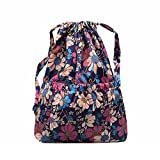 Drawstring Backpack Original Tote Bags for Women Girls Travel Shopping Rucksack Shoulder Gym bags (L size Flower-2) Review