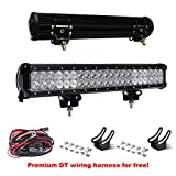 LITE-WAY 20Inch 210W Lumiled LED Work Light Bar with Mounting Brackets & Wiring Harness Spot Flood Combo Driving Lamp Waterproof for Trucks Off road Suv Boat 4X4 Jeep JK 4Wd