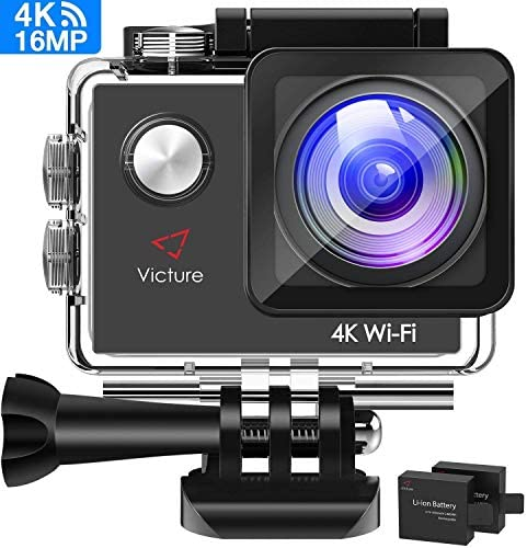 Victure AC600 4K WiFi Action Camera, 16MP Underwater Waterproof Camera, 170 Wide Angle WiFi Sports Video Camera with 2 Batteries and Mounting Accessories Kit