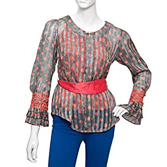 Damacseno Multi Color Polyester Round Neck Blouse For Women