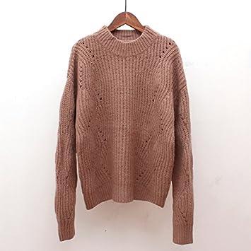 SZYL-Sweater Punto de Cuello Alto Medio Floja suéter Flojo Dulce de la Mujer fcd6d07f791c