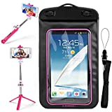 SumacLife Pink Waterproof Dry Bag Cell Phone Pouch & Tripod Selfie Stick for Motorola Moto Z3 Play/E5/E5 Play/G6 Play/G6/X4/G5s/G5s Plus/E4/E4 Plus/Z2/Z2 Play/Z2 Force/C Plus/C/G5/G5 Plus