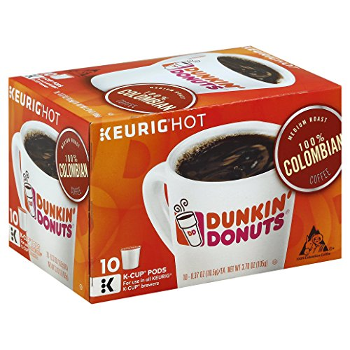 Dunkin' Donuts 100% Colombian Coffee K-Cup Pods, Dark Roast, 10 Count