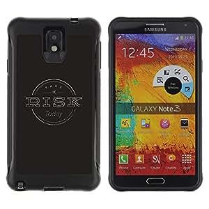 All-Round híbrido Heavy Duty de goma duro caso cubierta protectora Accesorio Generación-II BY RAYDREAMMM - Samsung Galaxy Note 3 - Risk Management Black Stamp Grey