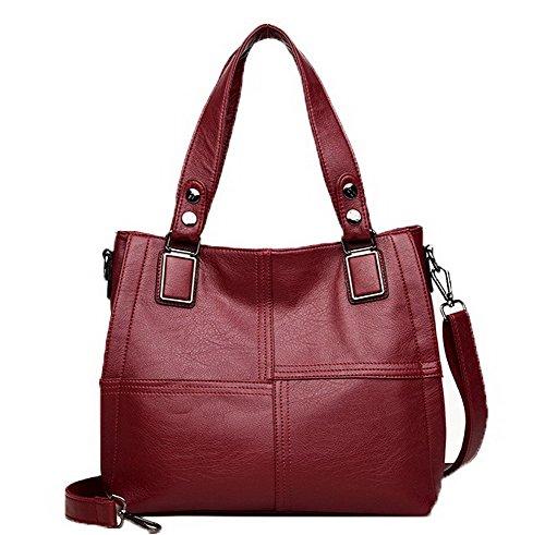 GMBBB180847 à Zippers Femme tout Pu Cuir Mode Sacs AgooLar Rouge Sacs fourre bandoulière Vineux PBWZznx