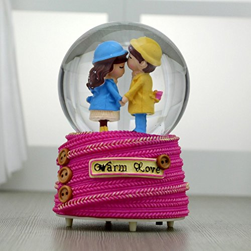 WeieW Luxury Music Box Romantic Couple Crystal Ball Music Box Commemorative Trinkets-Pink