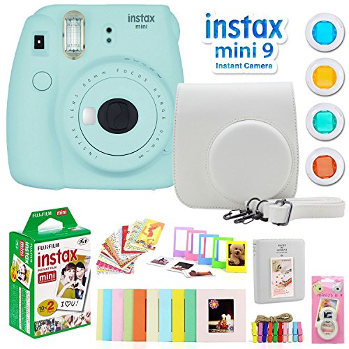 Fujifilm Instax Mini 9 Instant Camera w/Deco Gear Accessories & Film (Ice Blue)