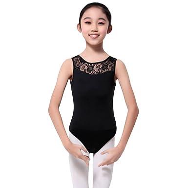 fcd2e33165c2 Gsha Girls Sleeveless Lace Ballet Dancewear Leotard Gymnastics Tops  Costumes Black 110