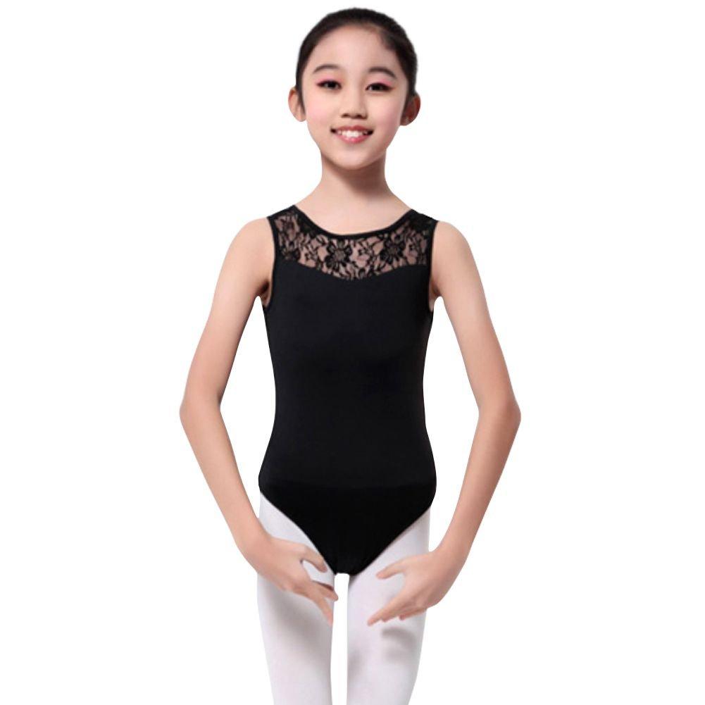 Gsha Girls Sleeveless Lace Ballet Dancewear Leotard Gymnastics Top, Black, 120/5-6Y