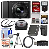 Panasonic Lumix DMC-ZS100 4K Wi-Fi Digital Camera (Black) with 64GB Card + Case + Flash + Battery & Charger + Tripod + Strap + Kit For Sale
