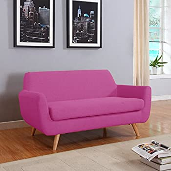 Amazon.com: Cushioned linen Armless Settee Loveseat Sofa Couch Home ...