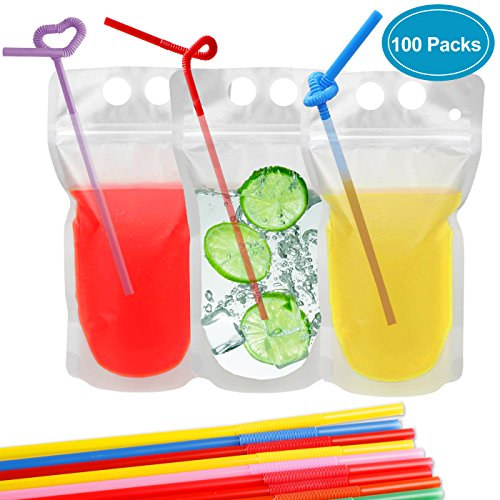 Drink Pouches Bags, 100 Pcs Zipper Plastic Pouches Drink Bags with Straws, Heavy Duty Hand-Held Translucent Frosted Reclosable Stand-up Bag