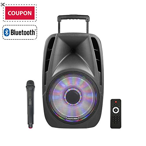STARQUEEN 12'' Portable Bluetooth PA Audio Speaker System with Wireless Handheld Microphone, Mic/Guitar Jack, USB/SD/FM Radio Function, Telescoping Handle & Wheels, Black by STARQUEEN