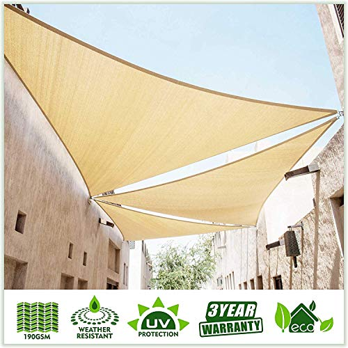 ColourTree 20' x 20' x 20' Beige Sun Shade Sail Triangle Canopy - UV Resistant Heavy Duty Commercial Grade Outdoor Patio Carport (Custom Size Available)