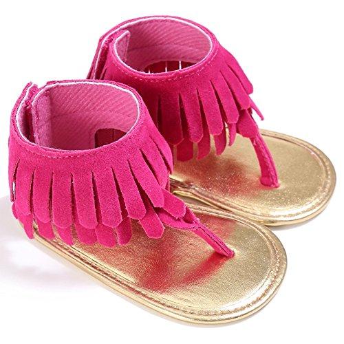 BOBORA Bebe Ninas Sandalias Borla Mate PU Bebes Zapatos De Verano Rosa rojo