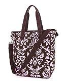 Belvah Quilted Damask Tote Handbag with Detachable Shoulder Strap (BR/PK), Bags Central