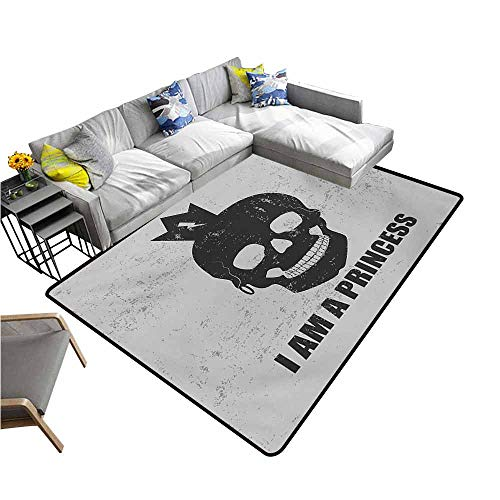 Dining Table Rugs I am a Princess,Skull with a Crown Skeleton Halloween Theme Grunge Look,Charcoal Grey and Pale Grey 60