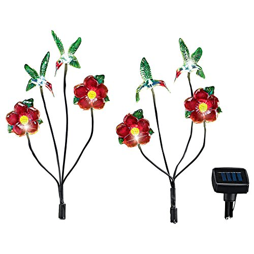 Fluttering Floral Solar LED Garden Branches Accent Light Sets, 2pc, (Hummingbird Collection 1 Light)