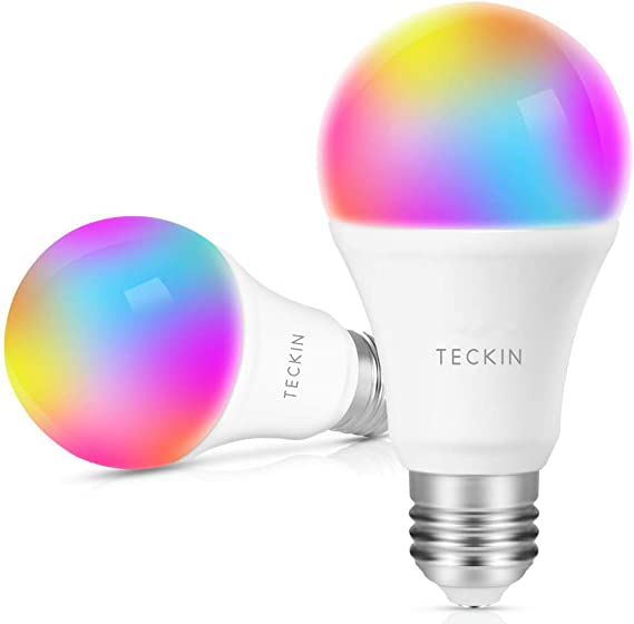 Smart Light Bulb with Soft White Light 2800k-6200k + RGBW, TECKIN A19 E26 WiFi Multicolor LED Bulb Compatible with Phone, Google Home, 7.5w (60w Equivalent), 2 Pack - - Amazon.com