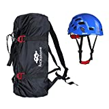 MonkeyJack Folding Rock Climbing Tree Arborist Caving Rappelling Rescue Rope Cord Bag Gear Equipment Carry Backpack + Safety Helmet Hard Hat