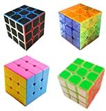 3x3 Cubes Bundle Family Cube Puzzle Set Collection Carbon Fiber Cube Transparent Cube Stickerless 3x3 speed cube Glow in Dark Cube With Bonus of Stand & Pouch by WiAllFun