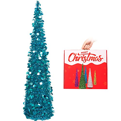 N&T NIETING Christmas Tree,5ft Collapsible Pop Up Christmas Tree Blue Tinsel Coastal Christmas Tree for Holiday Xmas Decorations,Home Display, Office Decor (Red Christmas Turquoise)
