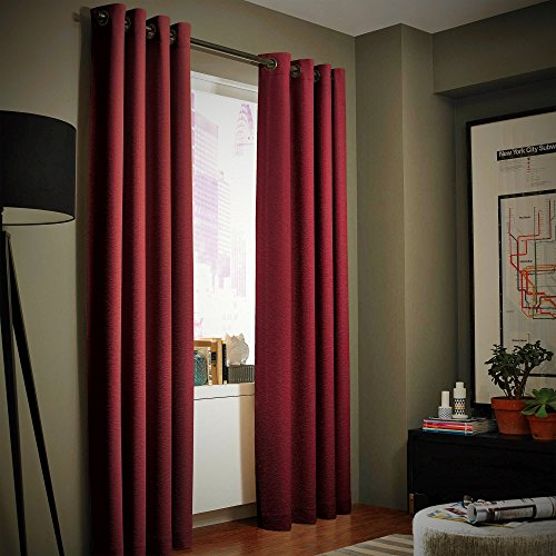 Window Curtain Foam Lined blackout thermal treatment Red wine - 9