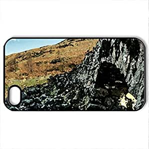ancient stone bridge over rocky stream hdr - Case Cover for iPhone 4 and 4s (Bridges Series, Watercolor style, Black)