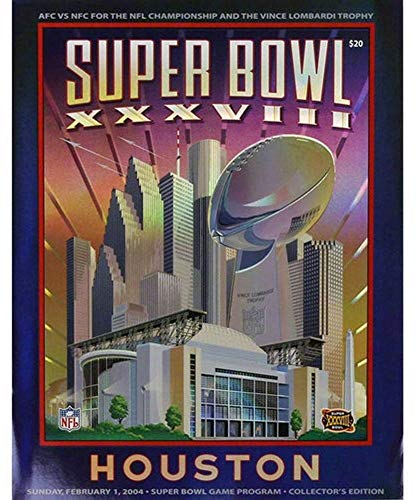 Super Bowl XXXVIII 38 Program Holographic Stadium Version Patriots vs - Xxxviii Bowl Super