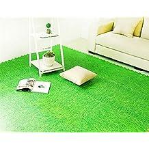 ALL FOR YOU 9PC Interlocking Foam Floor Mat Foam Soft Carpet Surface, Grass Mat (Green)