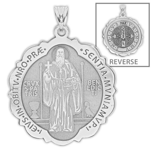 [Saint Benedict Scalloped Round Religious Medal - 2/3 Inch Size of Dime, Sterling Silver] (14k White Gold Religious Medal)