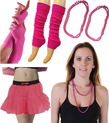 (Womens 1980s Fashion Wear Skirt Leg Warmer Fishnet Gloves and Beaded Necklace Set One)