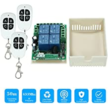 KKmoon 433Mhz DC 12V 4CH Universal Relay Wireless RF Remote Control Switch Receiver Module and 1PCS 4 Key RF 433 Mhz Transmitter Fixed Code (2262 Chip) Remote Controls Smart Home Automation