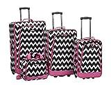 Rockland 4 Piece Luggage Set, Pink Chevron, One Size