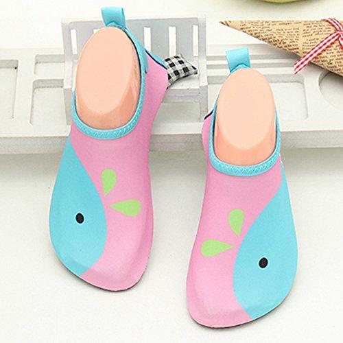 JACKSHIBO Männer Frauen und Kinder Quick-Dry Wasser Haut Schuhe Aqua Socken Für Wassersport Schwimmen Surf Yoga Exercise Beach Kinder-Rosa