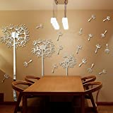 Alrens(TM)Riding Dandelion Fly 3D DIY Wall Stickers Mirror Effect Acrylic Wall Decals Living Room Sofa Decorated Nursery Stickers Mural Home Decoration