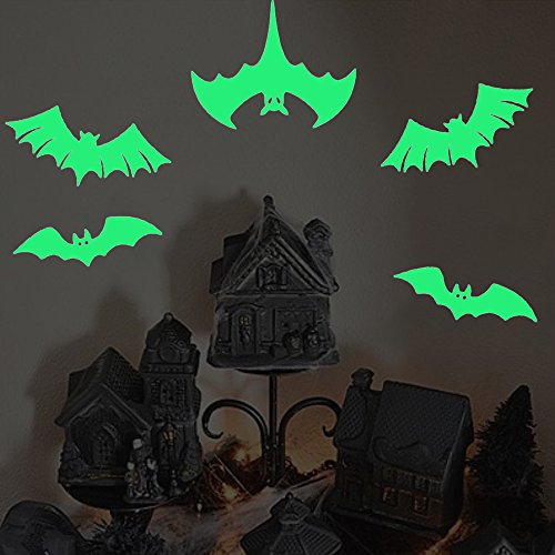 Six Large Bats Wall Decals Halloween Decorations Glow in the Dark, XYIYI Spooky Wall Stickers for Halloween Party Kids Home Room Décor