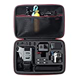 Large Carrying Case for GoPro Hero(2018), Hero 8, 7 Black,HERO6,5,4,+LCD, Black, Silver, 3+, 3, 2 and Accessories by HSU with Fully Customizable Interior Carry Handle and Carabiner Loop