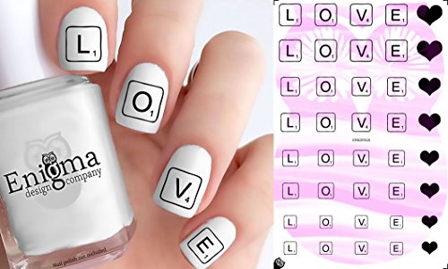 Tile Valentine (Scrabble Love Nail Decals - Vol II (Set of 40 | Clear Water-slide))