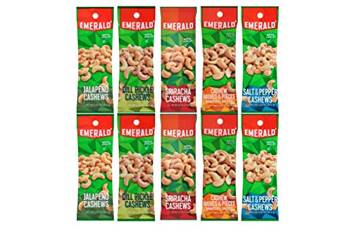 Pepper Pickles (Emerald Snacks Flavored Cashews Variety Bundle - Assortment Featuring Dill Pickle, Jalapeno, Salt & Pepper, Sriracha and Roasted & Salted)