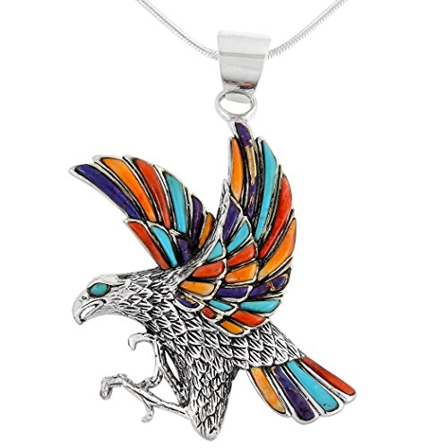Eagle Gemstone - Eagle Necklace 925 Sterling Silver Genuine Turquoise & Gemstones Pendant with 20