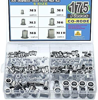 Mardatt 50Pcs #10-24UNC 304 Stainless Steel Rivet Nuts Rivnut Assortment Kit Flat Head Threaded UNC Rivetnut Insert Nutsert
