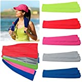 """Alcraft Very Kool Cooling Towel; Set of 5 included (Blue, Red, Green, Pink, Gray) 34""""L x 12""""H"""